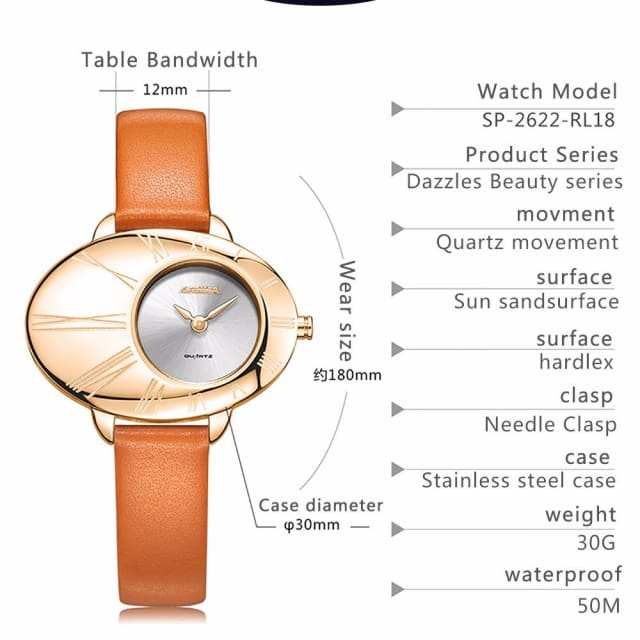 Luxury brand watches women fashion grace womens quartz wrist watch ladies Leather waterproof - Fashion
