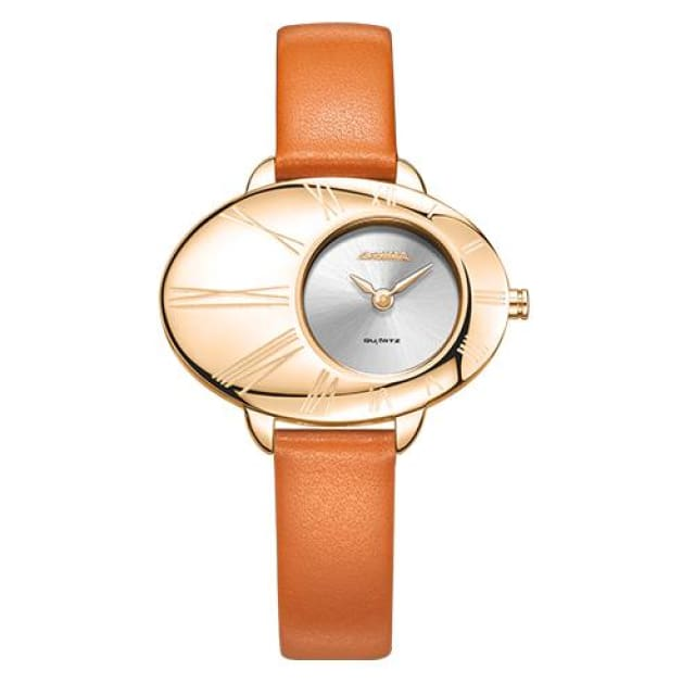 Luxury brand watches women fashion grace womens quartz wrist watch ladies Leather waterproof - Orange - Fashion