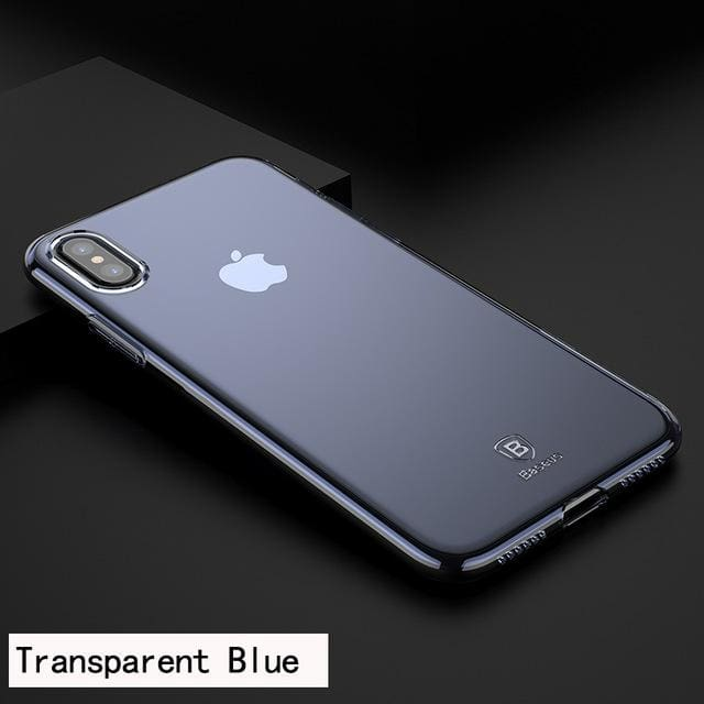 Luxury Cover Case For iPhone X 10 Slim Transparent Blue/Black/Red - Transparent Blue - Fitted Cases