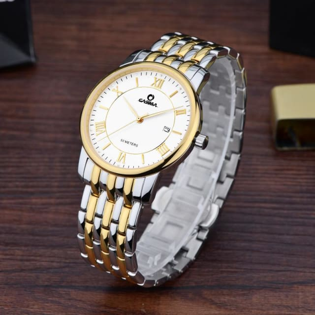 Luxury mens watches classic business dress mens watch calendar quartz stainless steel gold men watches - Luxury watche