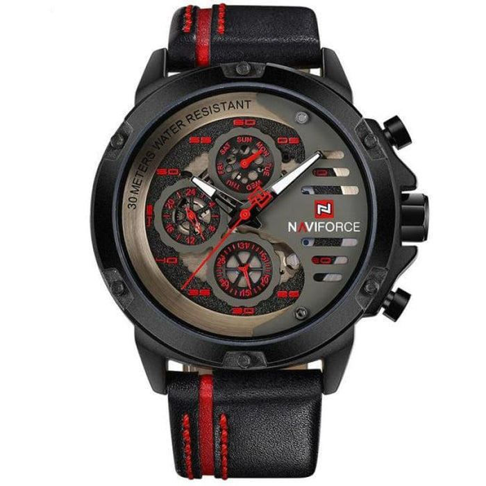 Luxury Watch Quartz For Men - Black Red - Sport Watch