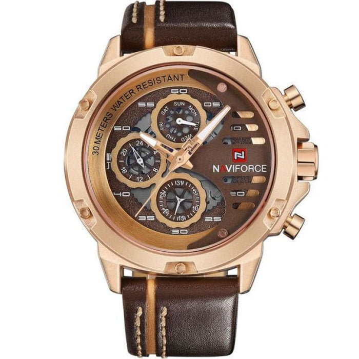 Luxury Watch Quartz For Men - Gold Brown - Sport Watch