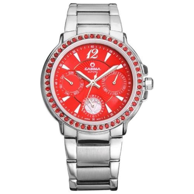 Luxury Watches for Women Diamond Quartz-Watch Fashion Casual Ladies Wristwatch waterproof 50m - Red - Luxury watche
