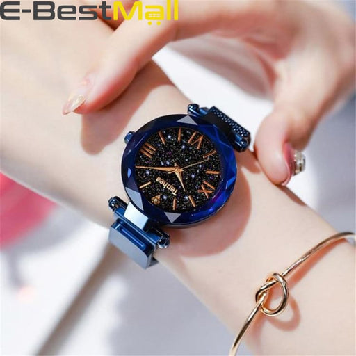 Luxury Women Watches Magnetic Starry Sky Female Clock Quartz Wristwatch Fashion Ladies Wrist Watch reloj mujer relogio feminino - Blue -
