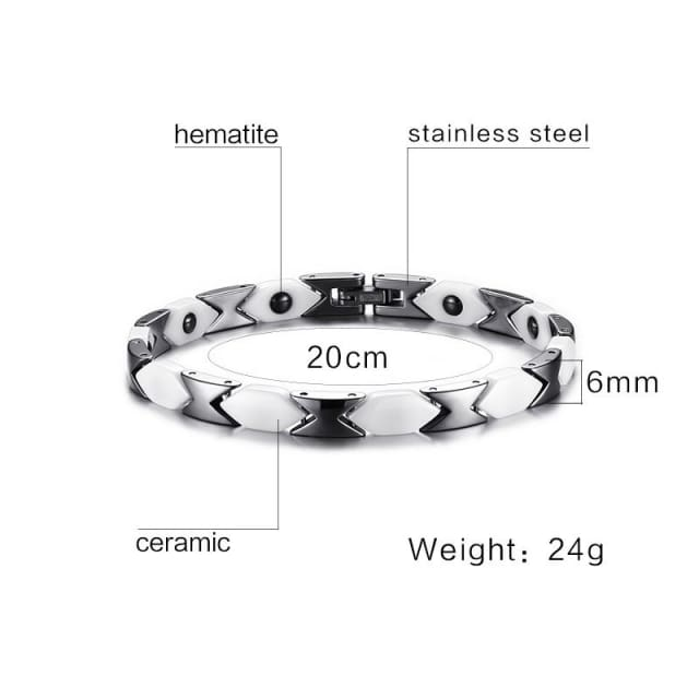 Magnetic Bracelet for women White Ceramic Health Therapy Adjustable Length Trendy Jewelry - Bracelet