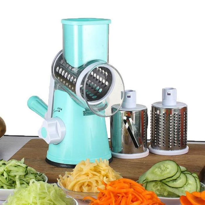 Manual Multifunctional Vegetable Mandoline Slicer Cheese Shredder with 3 Round Blades - Blue - Graters