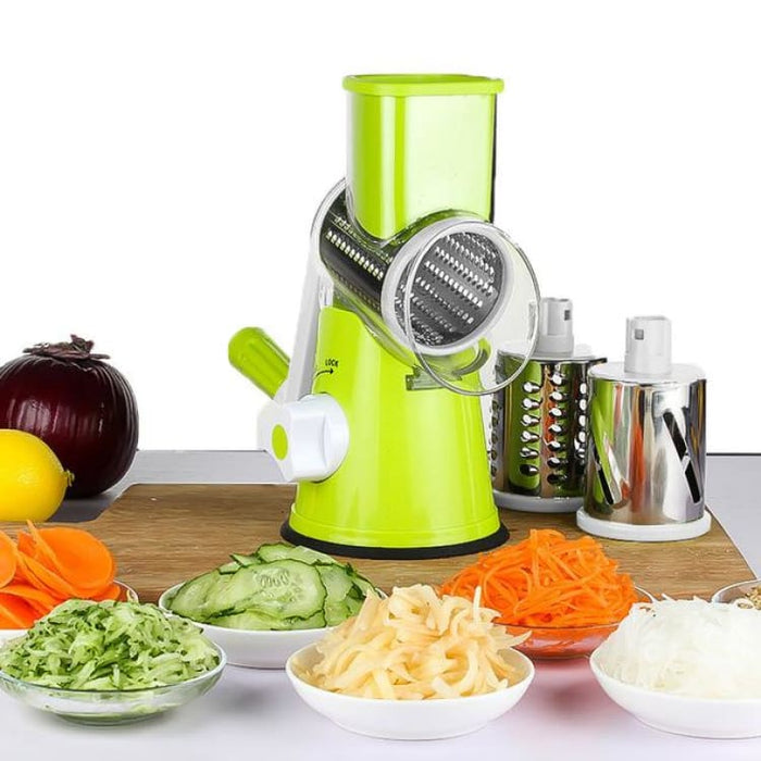 Manual Multifunctional Vegetable Mandoline Slicer Cheese Shredder with 3 Round Blades - Green - Graters