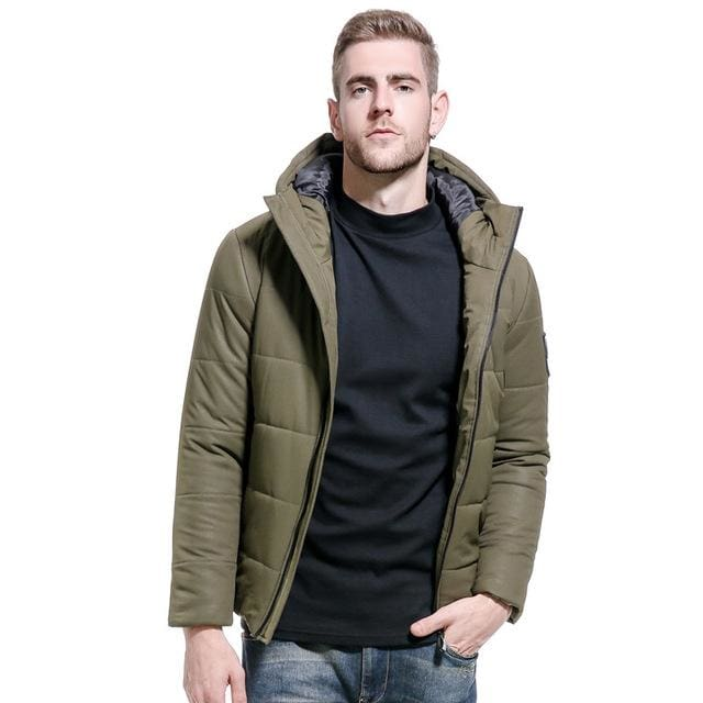 Men Winter Short Jacket - Army Creen / M - Parkas