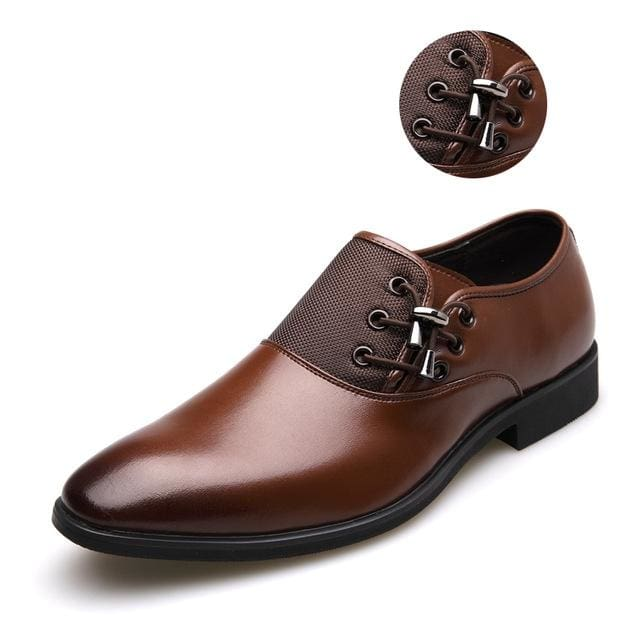Mens Business Shoes - brown silver / 38 - Oxford Shoes