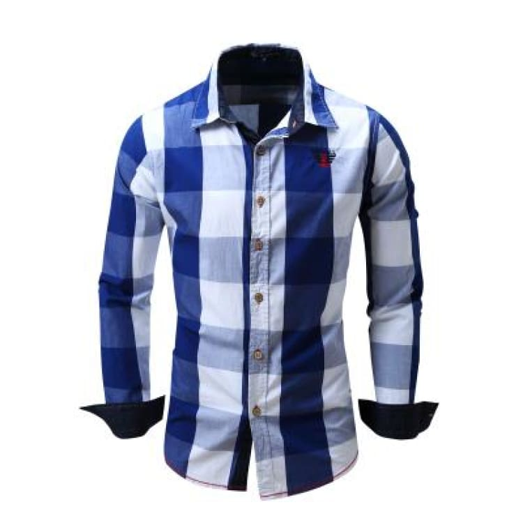 Mens Dress Shirts With Long Sleeve - Blue / Europe Size M - Dress Shirts