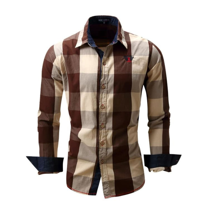 Mens Dress Shirts With Long Sleeve - Brown / Europe Size M - Dress Shirts
