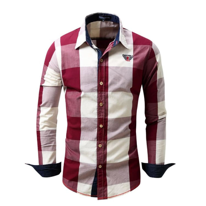 Mens Dress Shirts With Long Sleeve - Red / Europe Size M - Dress Shirts