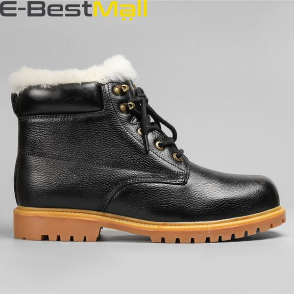 Mens Snow Boots - Natural Leather - Black / 5 - Snow Boots