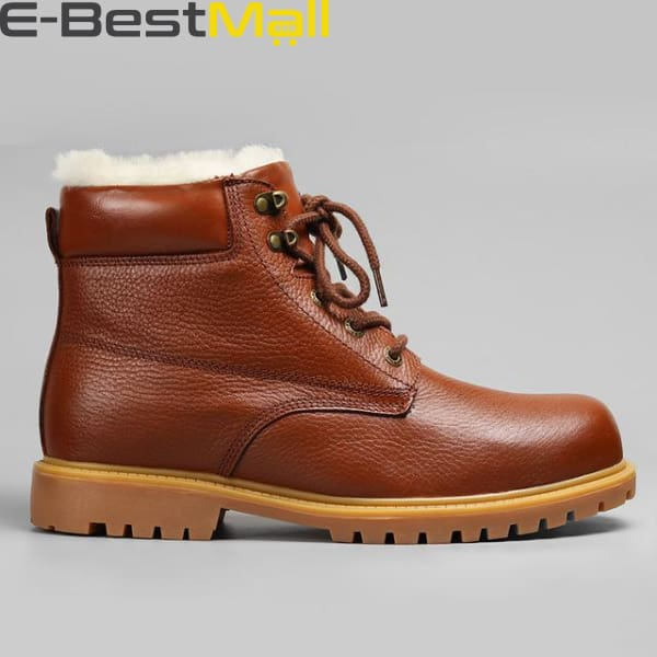 Mens Snow Boots - Natural Leather - Brown / 5 - Snow Boots