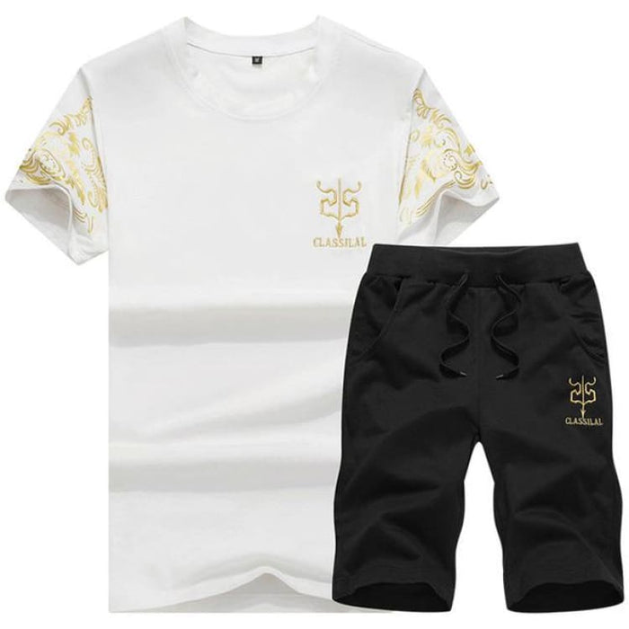 Mens Sport Suit - white and black / S - Mens Sets