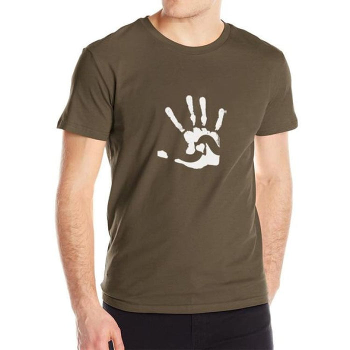 Mens T-Shirt Short Sleeve - Print Hand - Brown / M - T-Shirt