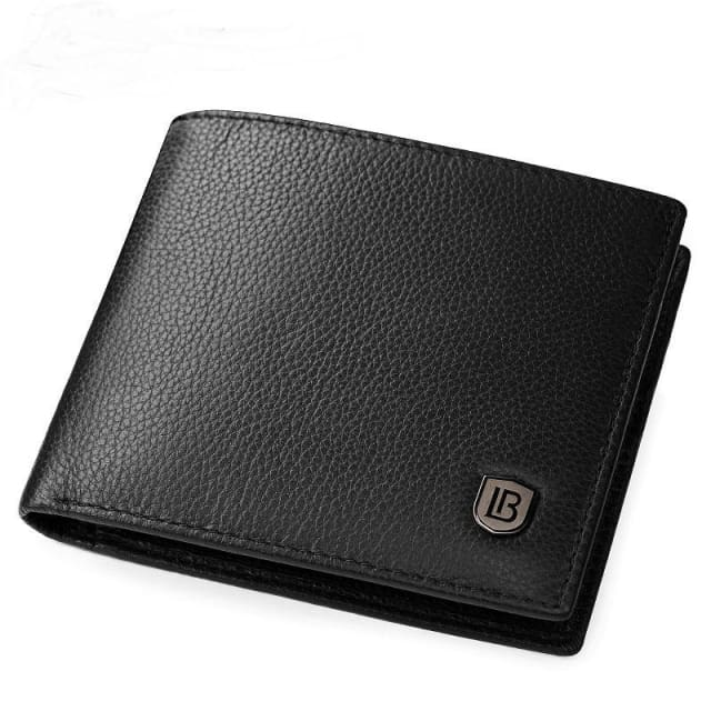 Mens Wallet Genuine Leather - Classic - Black - Mens Wallet