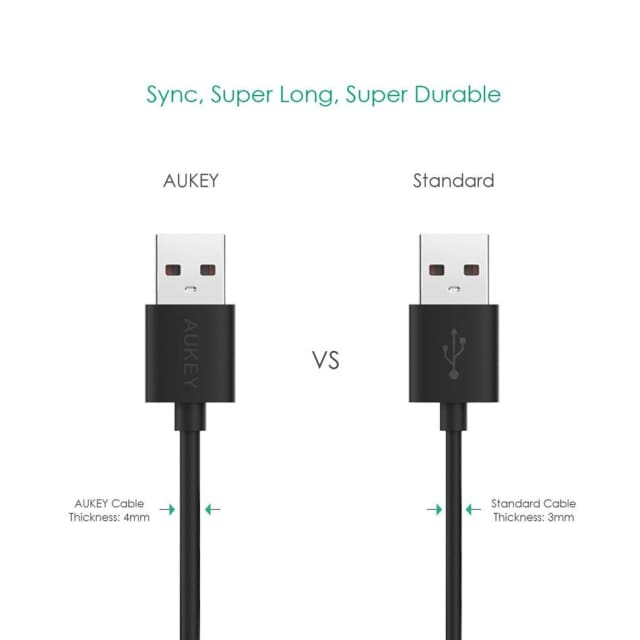 Micro USB Cable 2m - Fast Charging For Android - Black - Mobile Phone Cables