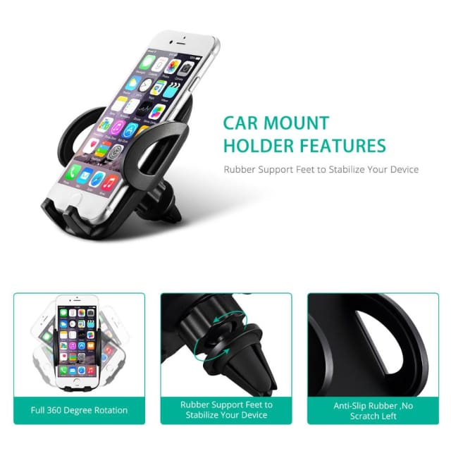 Mpow Air Vent Car Mount Holder Adjustable Dashboard Cellphone Car Mount Holder Stand for iPhone X 8 7 6 6S/Plus Samsung s8 HTC - Holder &