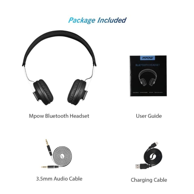 Mpow Bluetooth Headphones Wireless bluetooth 4.1 Super Lightweight On-ear Headset with Protein Ear Pads and Adjustable Headband - Headphone