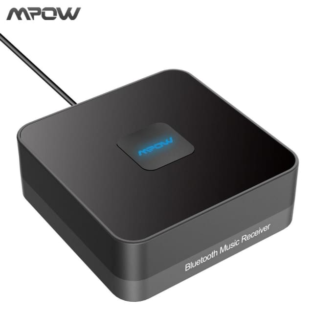 Mpow Bluetooth V4.1 Music Receiver Wireless Audio Adapter with 3.5mm Audio Cable Noise Isolator 10M/33ft For iphone ipad Phones - Wireless