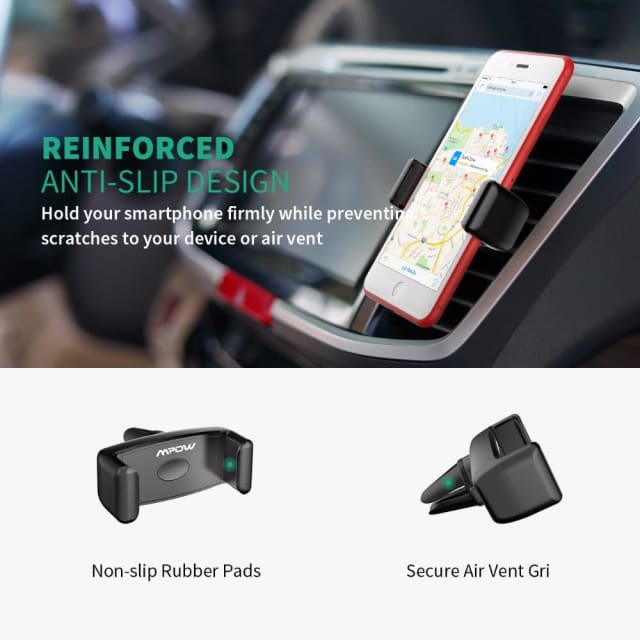 Mpow Car Air Vent Mount Phone Holder Kickstand Portable 360 Rotation Car Mount Universal for iPhone X 8 7 6/6S 4-6 inch - Holder & Stand