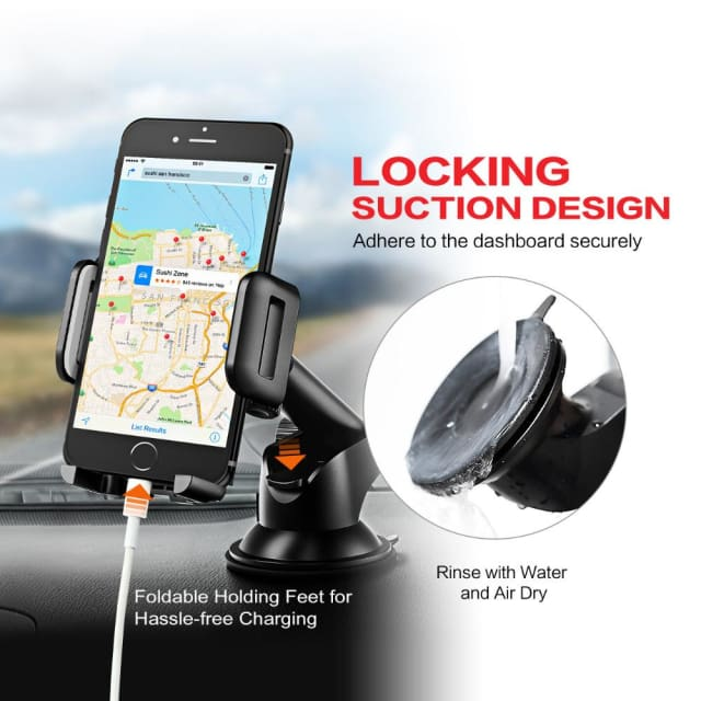 Mpow Car phone holder Adjustable Dashboard Cellphone Mount Holder with Strong Sticky Gel Pad 360 degree Rotation for cell phones - Holder