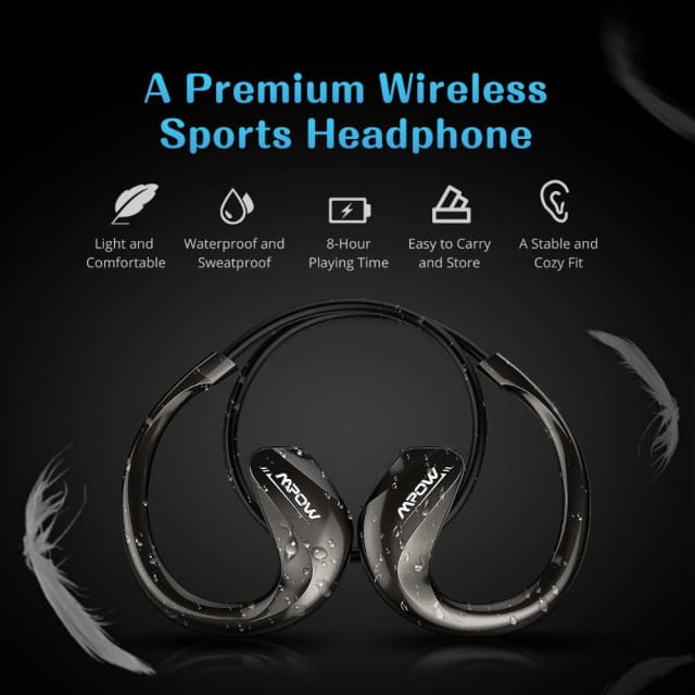 Mpow Edge new headphone Wireless Bluetooth 4.1 In-Ear Sports Metel Stereo Headphones Headset with Remote control & Microphone