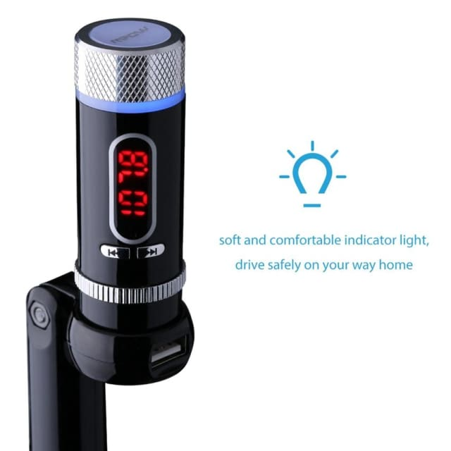 Mpow handsfree Wireless Bluetooth FM Transmitter built in CSR chipset Handsfree Calling Radio Adapter Music Speaker for Car - Portable