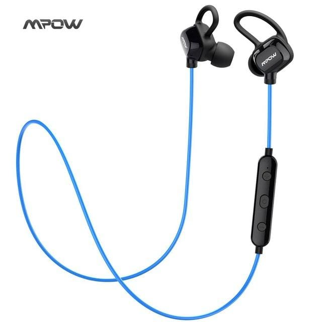 Mpow headphone IPX4-rated sweatproof stereo bluetooth headphones wireless sports earphones with MIC for iPhone Android Phone - Blue / China