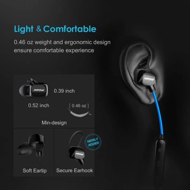 Mpow headphone IPX4-rated sweatproof stereo bluetooth headphones wireless sports earphones with MIC for iPhone Android Phone - Earphone