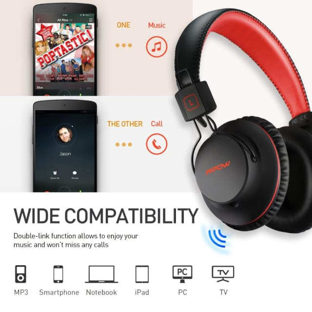 Mpow HiFi Stero Wireless Bluetooth Headphones With Mic Soft Ear Pads Noise Canceling Headset Earphone For iPhone Android TV PC - Headphone