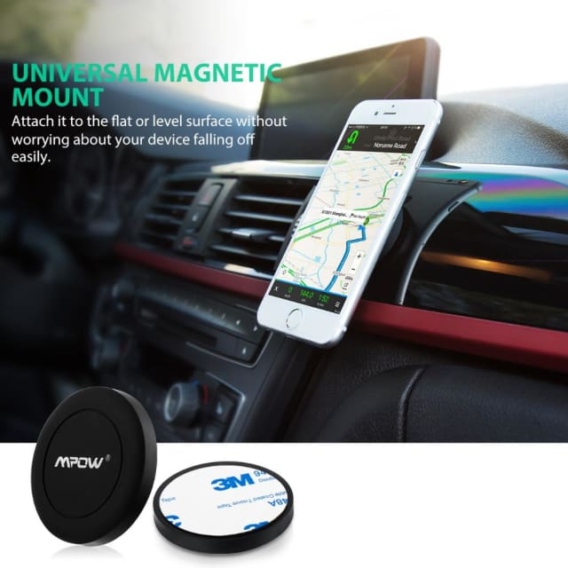 Mpow Mini Magnet Car Mount holder Strong Magnetic Attraction mobile car Holder for all 4inch-6inch phone ipad Metel devices - Holder & Stand