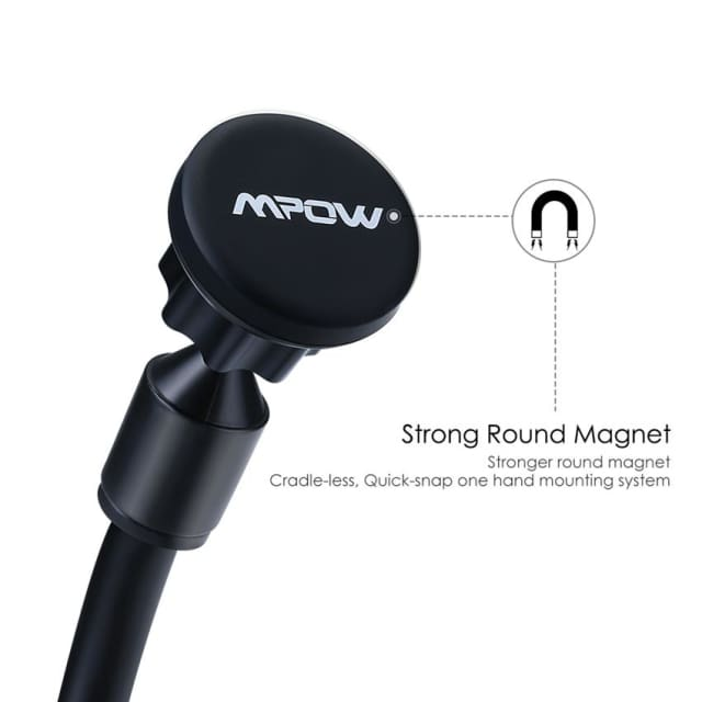 Mpow Phone Holder Grip Magnet Universal Windshield Car Mount Holder with Metal Plate for iPhone Samsung Huawei Xiaomi LG Sony - Holder &