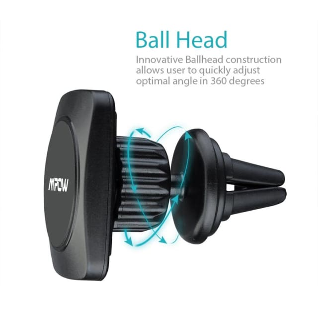 Mpow Portable Magnet Ball Car Mount MagGrip 360 Degree Swivel Air Vent Magnetic Universal Black Car Phone Holder Cradle - Holder & Stand