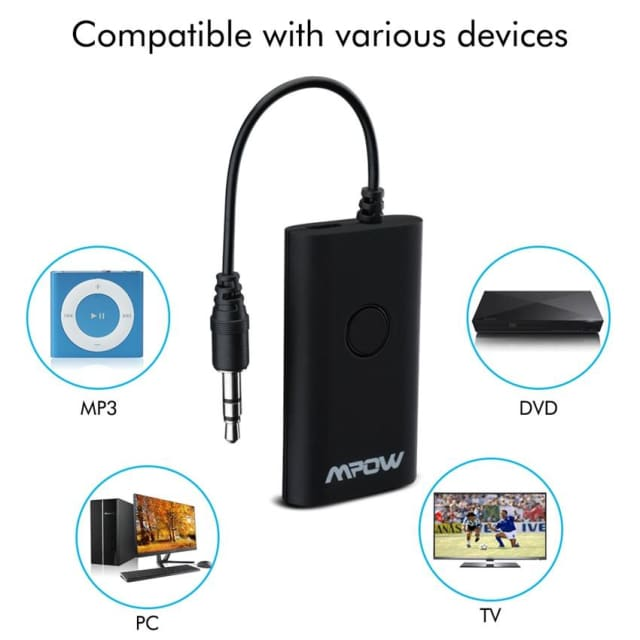 Mpow Streambot Pro Portable Black Wireless Bluetooth Transmitter Music Streaming 3.5mm Audio Jack Receiver for Speakers TV