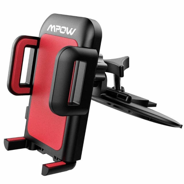 Mpow Universal CD Slot Car Mount Smartphone Holder 360 Rotating Phone Cradle Holder with One-Click Release Button for Phones - China / Red
