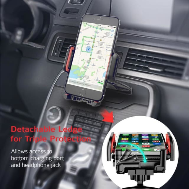Mpow Universal CD Slot Car Mount Smartphone Holder 360 Rotating Phone Cradle Holder with One-Click Release Button for Phones