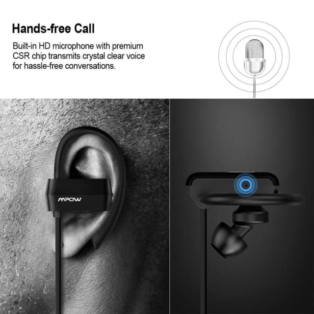 Mpow wireless Bluetooth 4.1 Headset Headphones handsfree call CSR chip Microphone sports Headphone Earphone for iPhone Android - Earphone