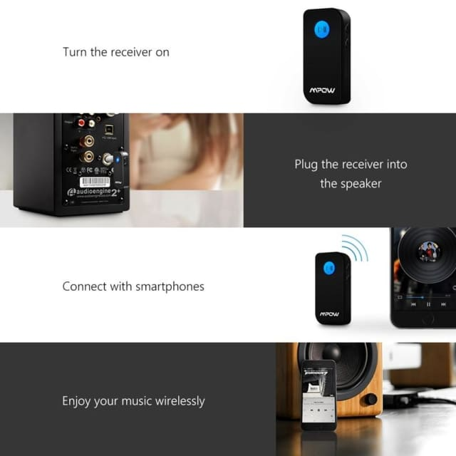 Mpow wireless bluetooth receiver Black Portable 3.5 mm Stereo Output Bluetooth 4.1 Audio Streaming hands-free Receiver Adapter - wireless