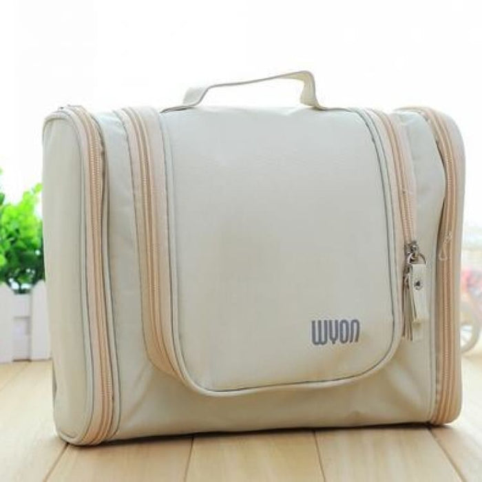 Multifunction MakeUp Bag Large Capacity - Beige - Storage Bags