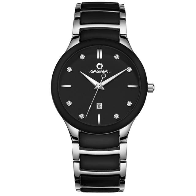 New arrival simple casual men watch black and white ceramic quartz mens watch with calendar waterproof male wristwatches - Black - Quartz