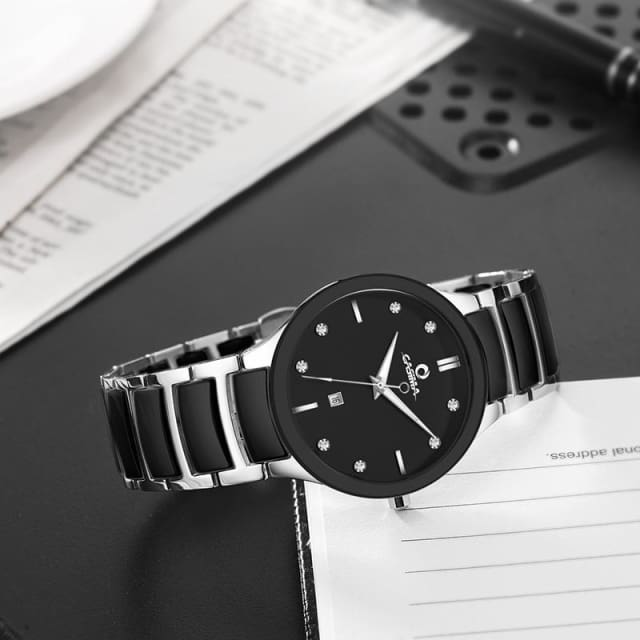 New arrival simple casual men watch black and white ceramic quartz mens watch with calendar waterproof male wristwatches - Quartz