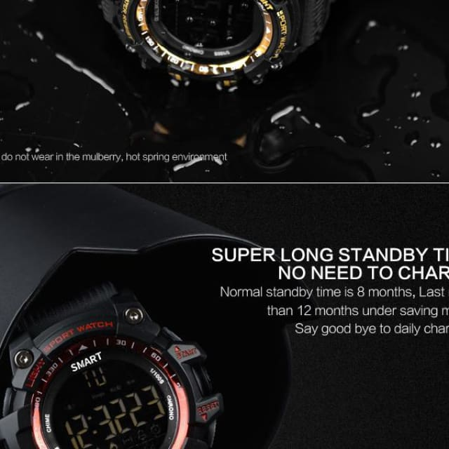 New Sport smart watch buzzer sound alarm sport monitor IP67 waterproof burned calory men watch remote camera watches - Sport