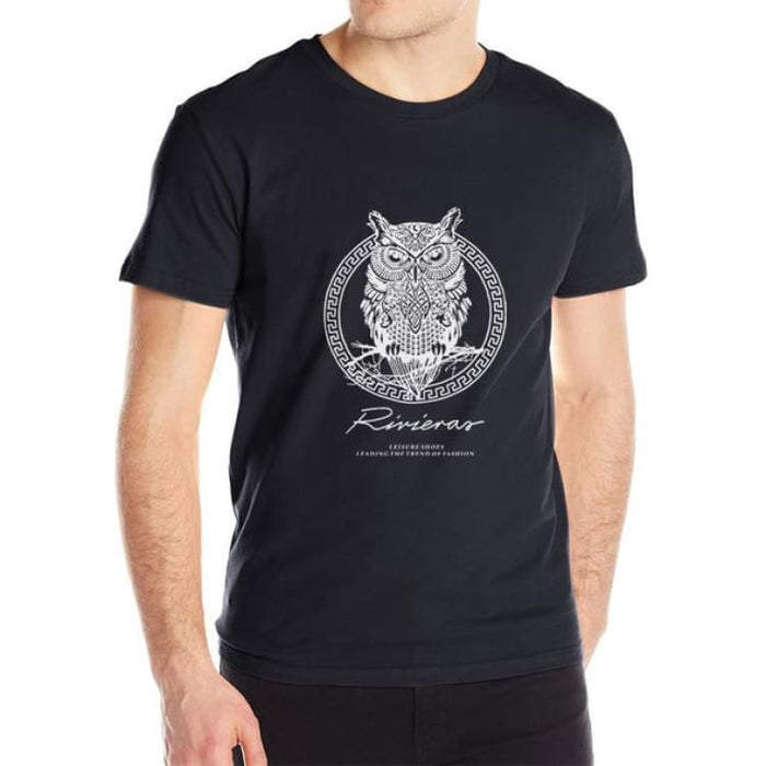 New T shirt Owl Mens - black / M - T-Shirt