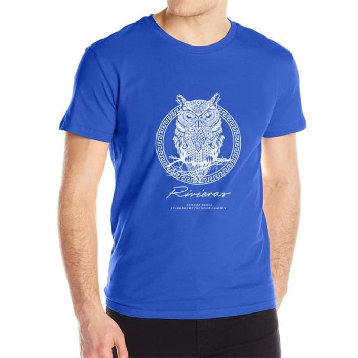 New T shirt Owl Mens - Blue / M - T-Shirt