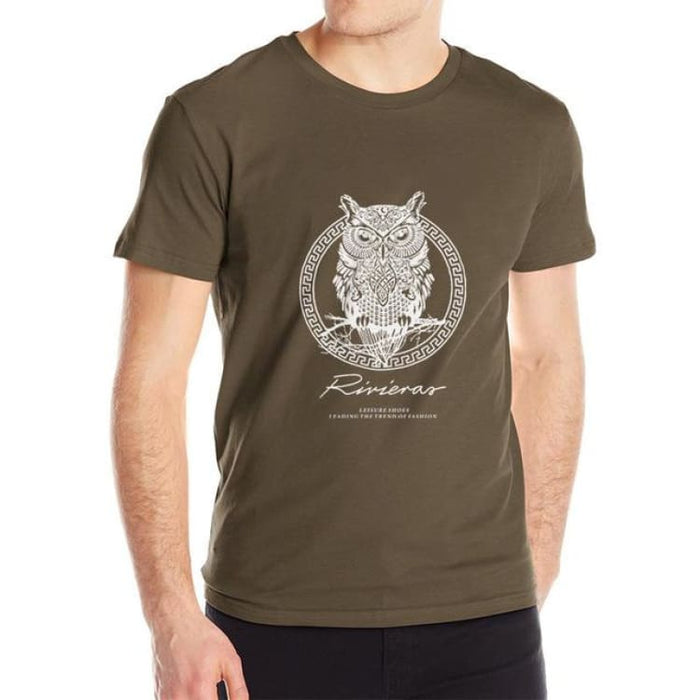 New T shirt Owl Mens - Brown / M - T-Shirt