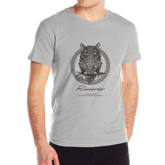 New T shirt Owl Mens - Gray / M - T-Shirt