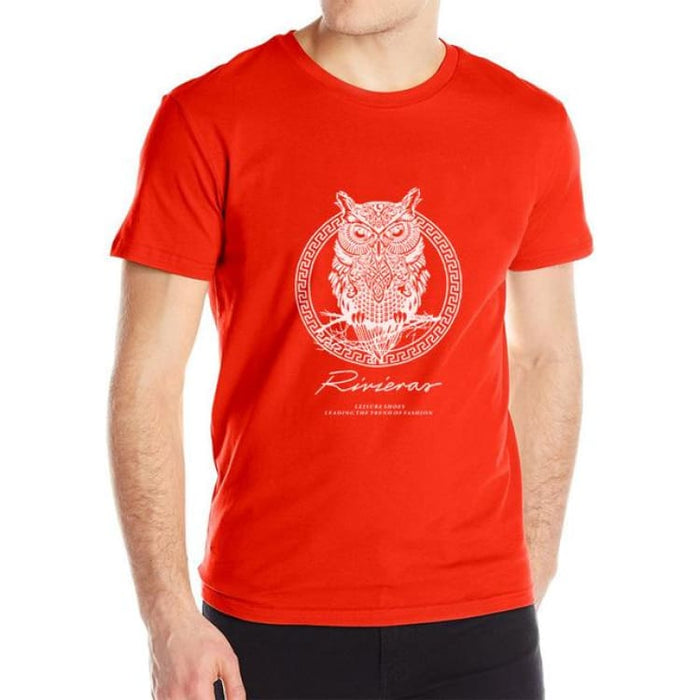 New T shirt Owl Mens - Red / M - T-Shirt