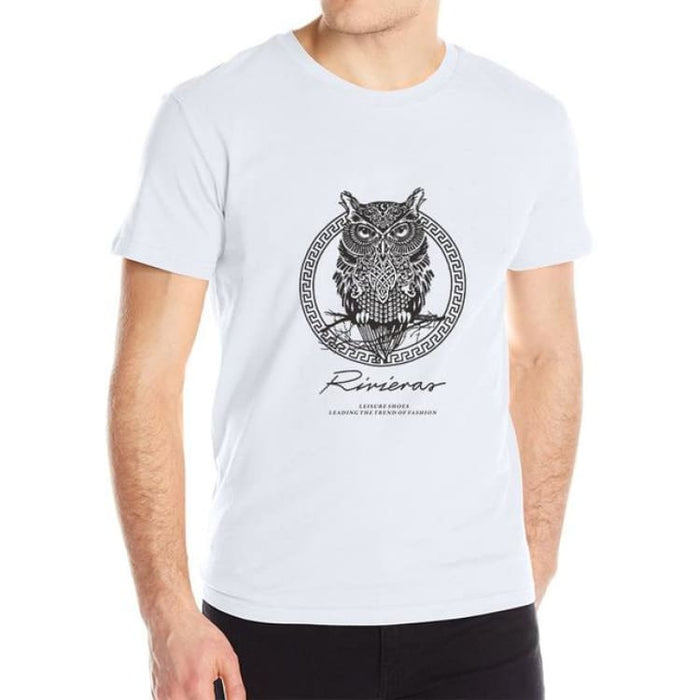 New T shirt Owl Mens - white / M - T-Shirt